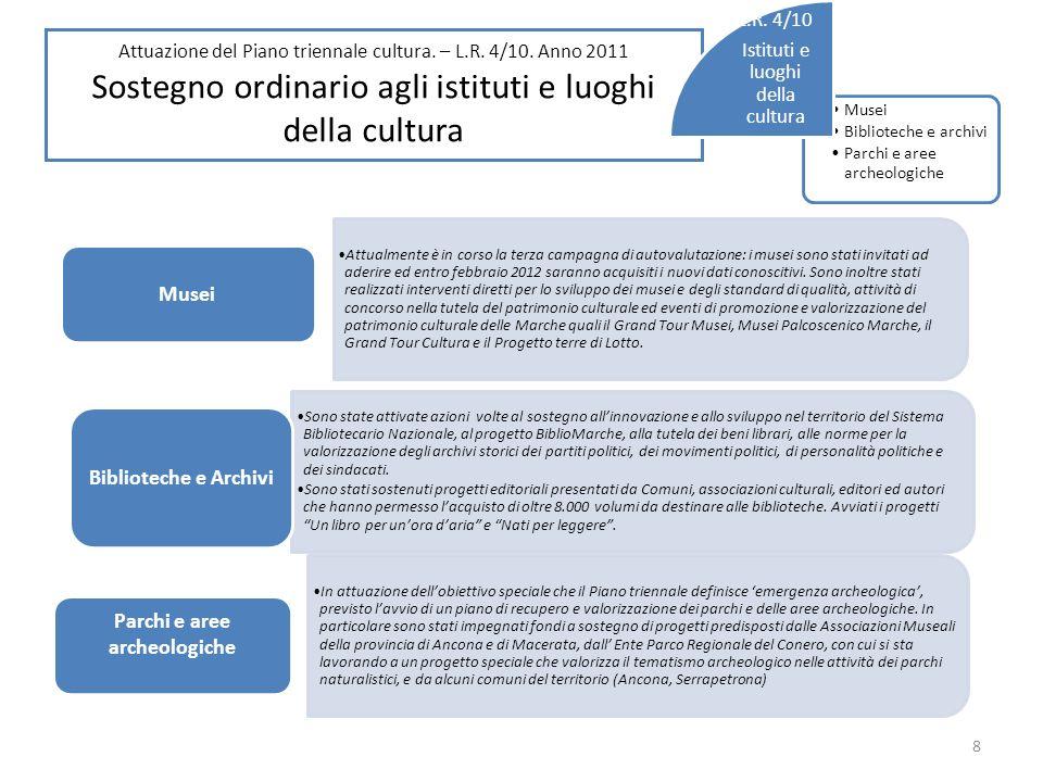 Attuazione del Piano triennale cultura. – L.R. 4/10.
