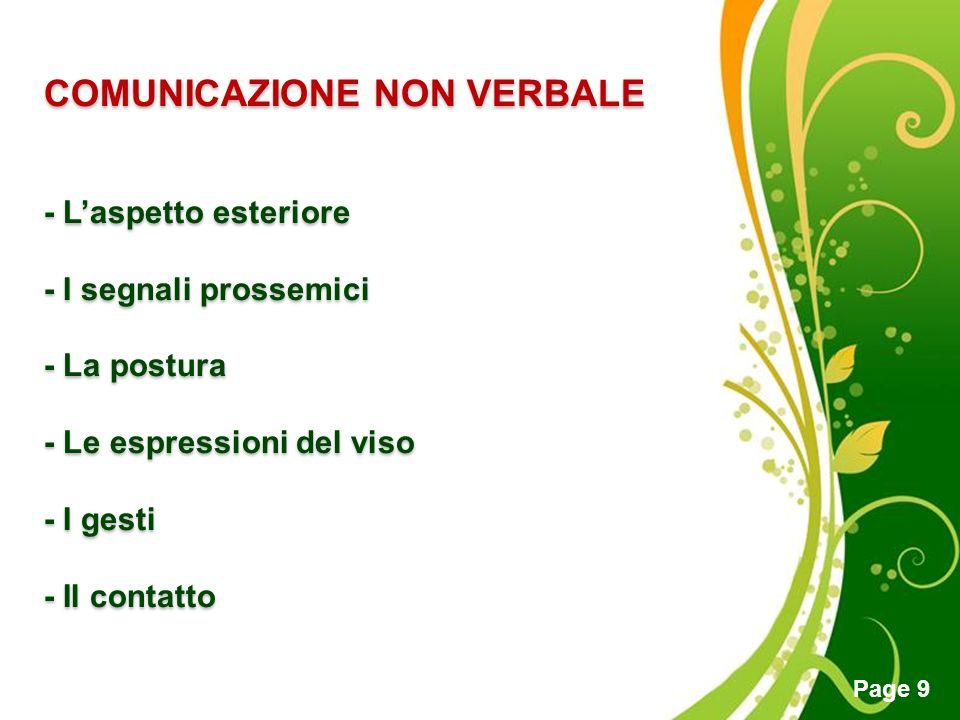 Free Powerpoint Templates Page 9 COMUNICAZIONE NON VERBALE - Laspetto esteriore - I segnali prossemici - La postura - Le espressioni del viso - I gest
