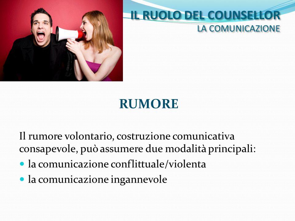 IL RUOLO DEL COUNSELLOR LA COMUNICAZIONE RUMORE Il rumore volontario, costruzione comunicativa consapevole, può assumere due modalità principali: la c