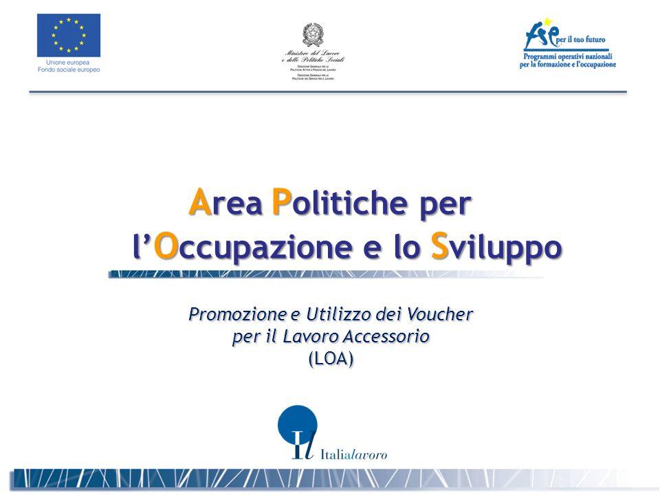 A rea P olitiche per l O ccupazione e lo S viluppo Promozione e Utilizzo dei Voucher per il Lavoro Accessorio (LOA)