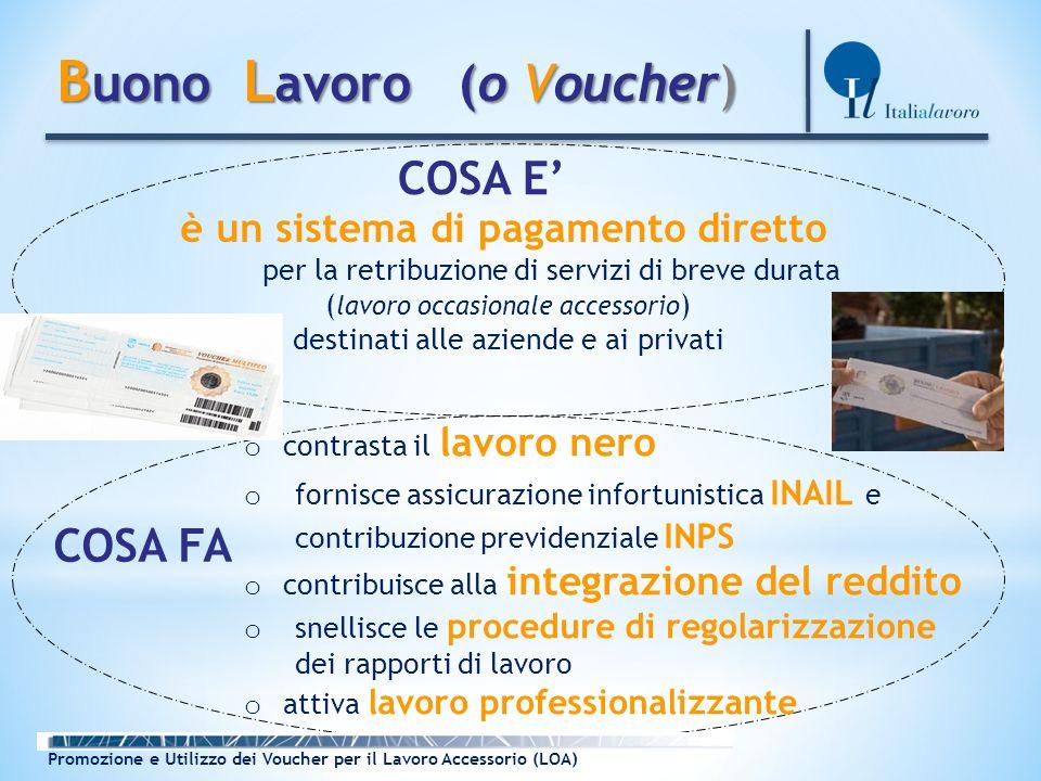 B uono L avoro (o Voucher) B uono L avoro (o Voucher) è un sistema di pagamento diretto per la retribuzione di servizi di breve durata ( lavoro occasi