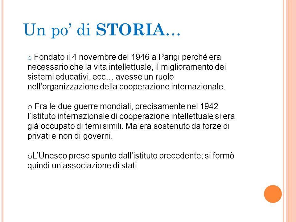 Un po di STORIA … o Fondato il 4 novembre del 1946 a Parigi perché era necessario che la vita intellettuale, il miglioramento dei sistemi educativi, e