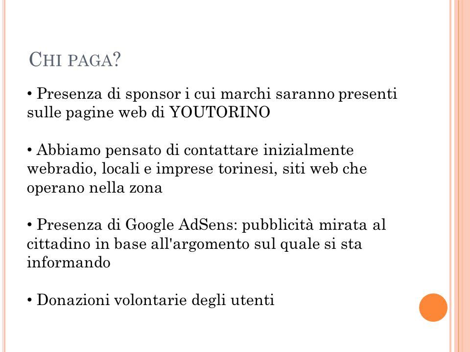 C HI PAGA ? Presenza di sponsor i cui marchi saranno presenti sulle pagine web di YOUTORINO Abbiamo pensato di contattare inizialmente webradio, local
