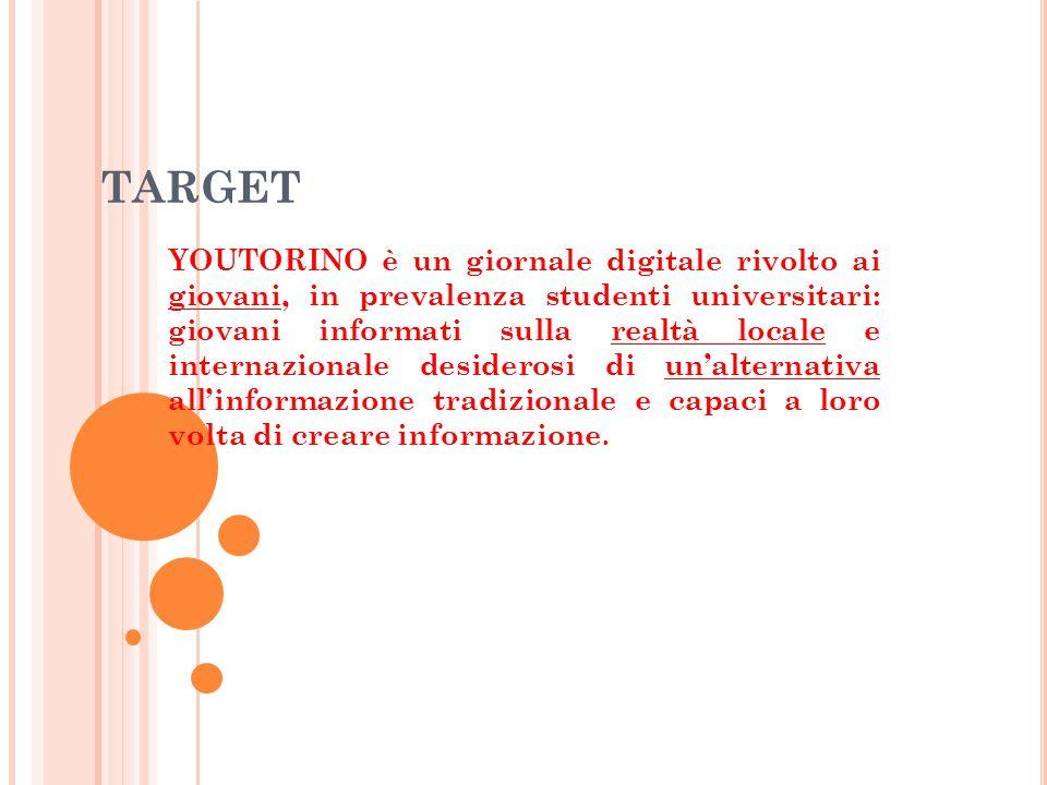 TARGET YOUTORINO è un giornale digitale rivolto ai giovani, in prevalenza studenti universitari: giovani informati sulla realtà locale e internazionale desiderosi di unalternativa allinformazione tradizionale e capaci a loro volta di creare informazione.