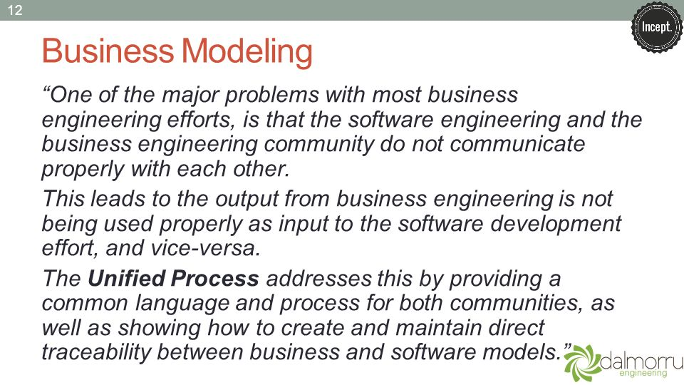 Business Modeling One of the major problems with most business engineering efforts, is that the software engineering and the business engineering community do not communicate properly with each other.