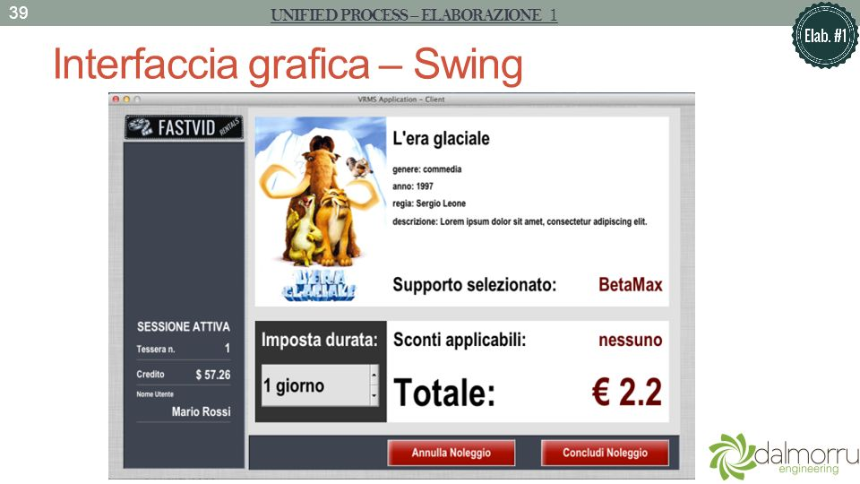 Interfaccia grafica – Swing 39 UNIFIED PROCESS – ELABORAZIONE 1