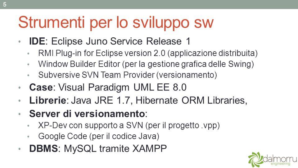 Strumenti per lo sviluppo sw IDE: Eclipse Juno Service Release 1 RMI Plug-in for Eclipse version 2.0 (applicazione distribuita) Window Builder Editor