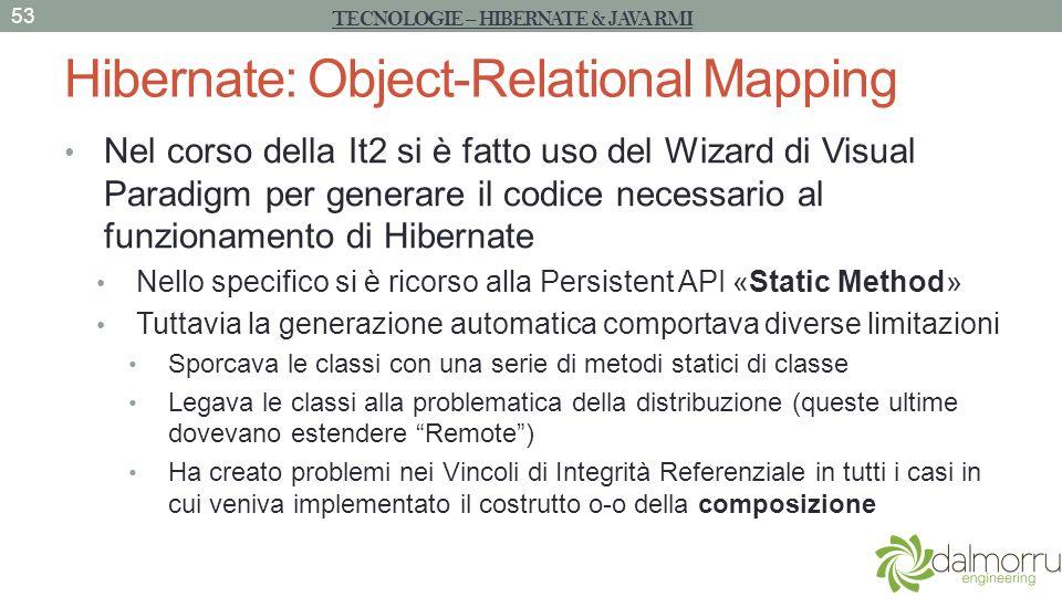 Hibernate: Object-Relational Mapping Nel corso della It2 si è fatto uso del Wizard di Visual Paradigm per generare il codice necessario al funzionamen