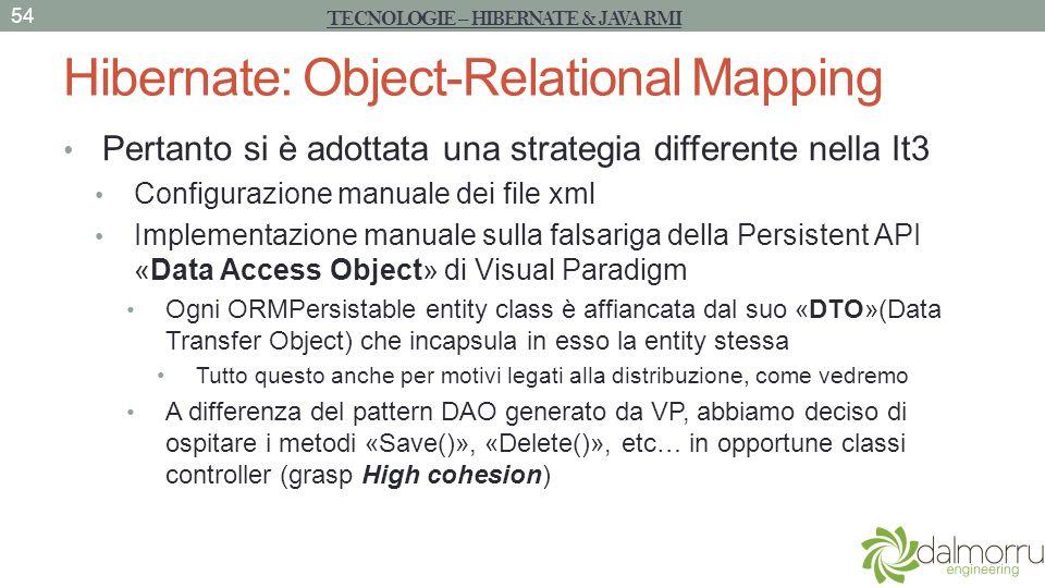 Hibernate: Object-Relational Mapping Pertanto si è adottata una strategia differente nella It3 Configurazione manuale dei file xml Implementazione man
