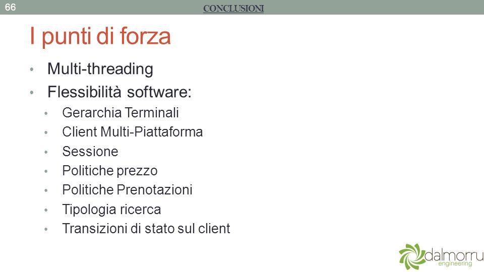 I punti di forza Multi-threading Flessibilità software: Gerarchia Terminali Client Multi-Piattaforma Sessione Politiche prezzo Politiche Prenotazioni