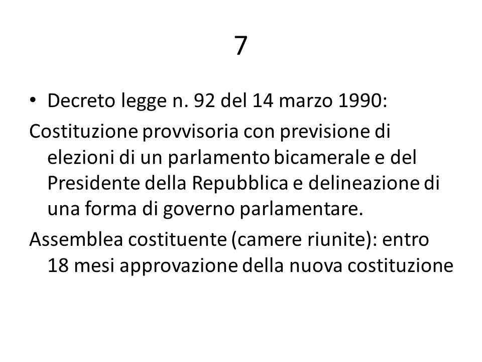 8 Approvazione della costituzione il 21 novembre 1991 Ratifica popolare a mezzo referendum l8 dicembre 1991