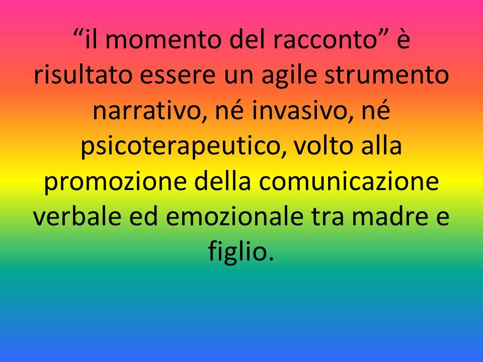 il momento del racconto è risultato essere un agile strumento narrativo, né invasivo, né psicoterapeutico, volto alla promozione della comunicazione verbale ed emozionale tra madre e figlio.