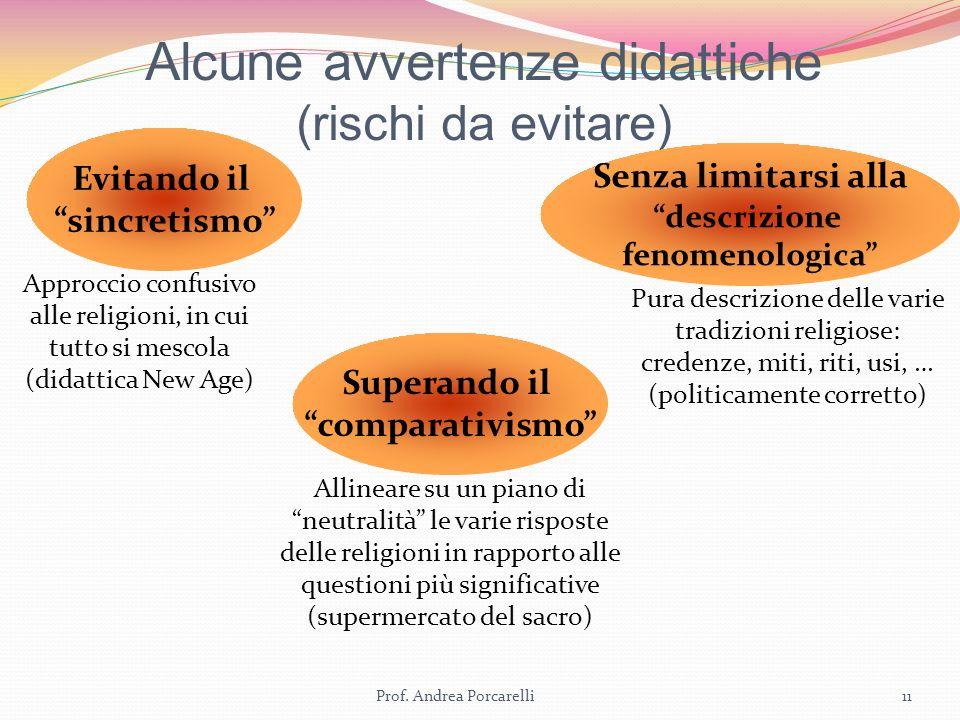 Alcune avvertenze didattiche (rischi da evitare) Prof. Andrea Porcarelli11 Evitando il sincretismo Approccio confusivo alle religioni, in cui tutto si