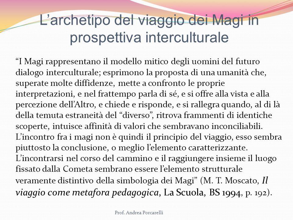Prof. Andrea Porcarelli Larchetipo del viaggio dei Magi in prospettiva interculturale I Magi rappresentano il modello mitico degli uomini del futuro d