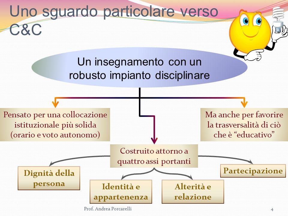 Uno sguardo particolare verso C&C Prof. Andrea Porcarelli4 Un insegnamento con un robusto impianto disciplinare Pensato per una collocazione istituzio