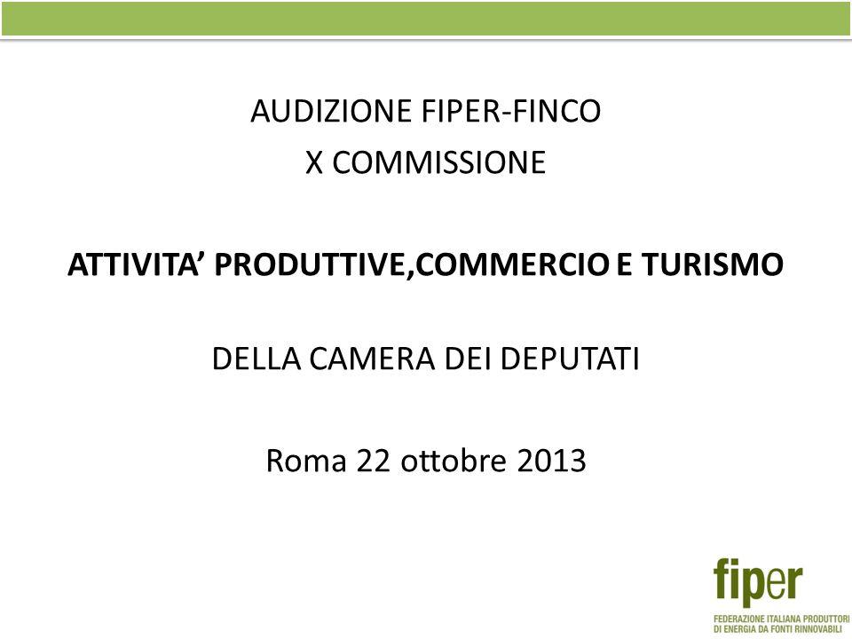 AUDIZIONE FIPER-FINCO X COMMISSIONE ATTIVITA PRODUTTIVE,COMMERCIO E TURISMO DELLA CAMERA DEI DEPUTATI Roma 22 ottobre 2013