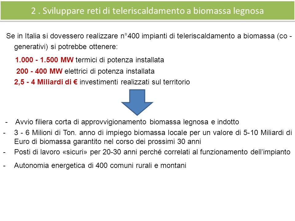 Se in Italia si dovessero realizzare n°400 impianti di teleriscaldamento a biomassa (co - generativi) si potrebbe ottenere: 1.000 - 1.500 MW termici di potenza installata 200 - 400 MW elettrici di potenza installata 2,5 - 4 Miliardi di investimenti realizzati sul territorio - Avvio filiera corta di approvvigionamento biomassa legnosa e indotto -3 - 6 Milioni di Ton.