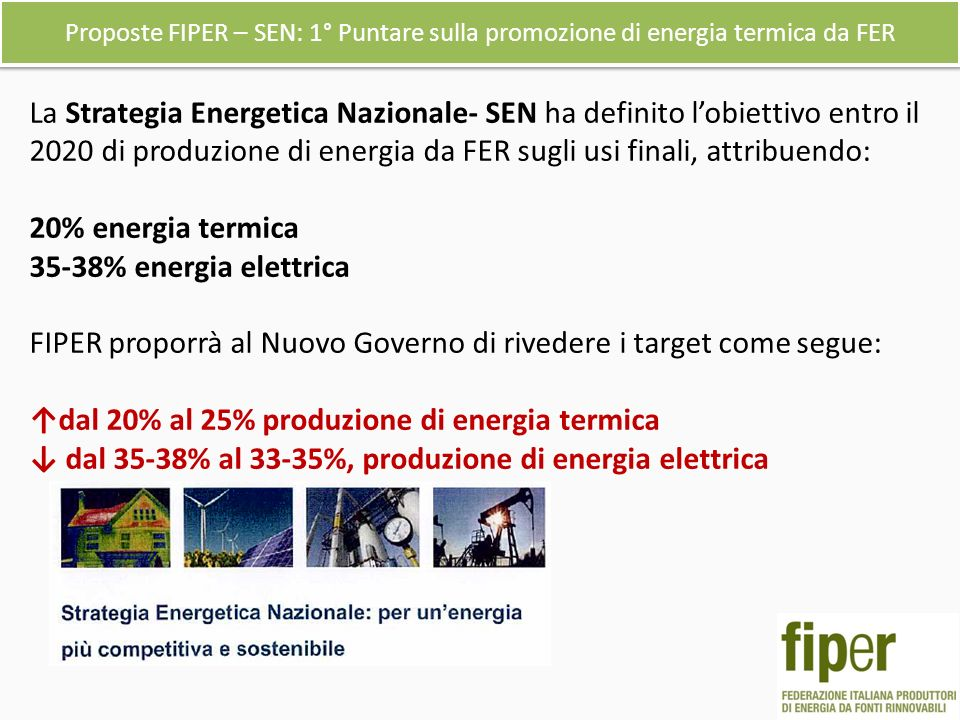 Proposte FIPER – SEN: 1° Puntare sulla promozione di energia termica da FER La Strategia Energetica Nazionale- SEN ha definito lobiettivo entro il 2020 di produzione di energia da FER sugli usi finali, attribuendo: 20% energia termica 35-38% energia elettrica FIPER proporrà al Nuovo Governo di rivedere i target come segue: dal 20% al 25% produzione di energia termica dal 35-38% al 33-35%, produzione di energia elettrica