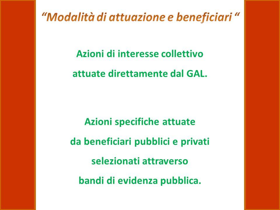 Azioni di interesse collettivo attuate direttamente dal GAL. Azioni specifiche attuate da beneficiari pubblici e privati selezionati attraverso bandi