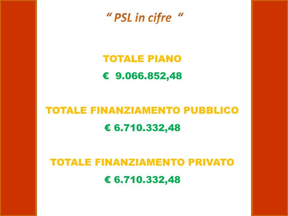 TOTALE PIANO 9.066.852,48 TOTALE FINANZIAMENTO PUBBLICO 6.710.332,48 TOTALE FINANZIAMENTO PRIVATO 6.710.332,48