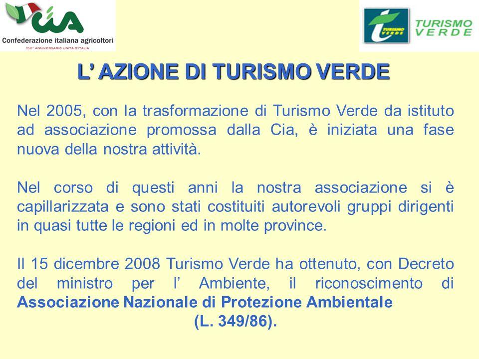 L AZIONE DI TURISMO VERDE L AZIONE DI TURISMO VERDE Nel 2005, con la trasformazione di Turismo Verde da istituto ad associazione promossa dalla Cia, è iniziata una fase nuova della nostra attività.