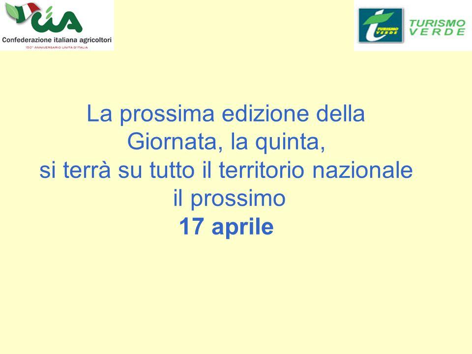La prossima edizione della Giornata, la quinta, si terrà su tutto il territorio nazionale il prossimo 17 aprile