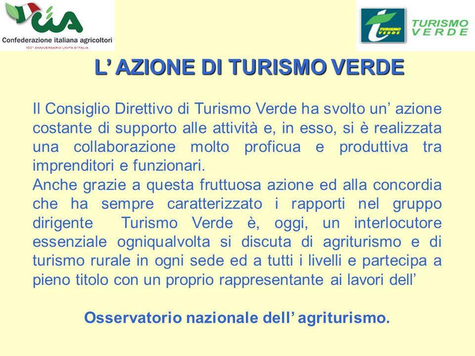 Il Consiglio Direttivo di Turismo Verde ha svolto un azione costante di supporto alle attività e, in esso, si è realizzata una collaborazione molto proficua e produttiva tra imprenditori e funzionari.