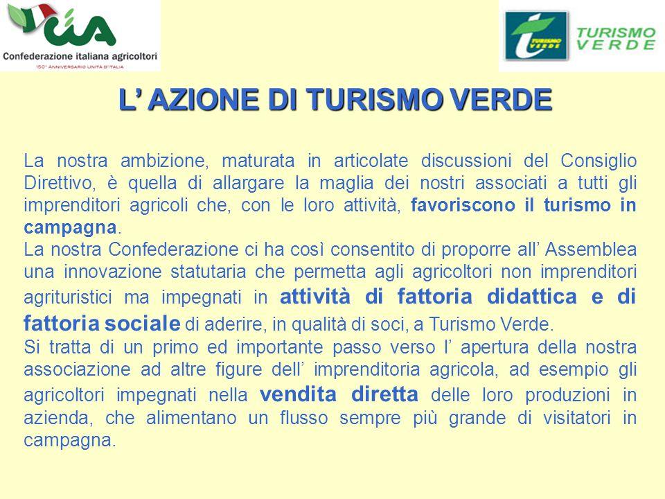 La nostra ambizione, maturata in articolate discussioni del Consiglio Direttivo, è quella di allargare la maglia dei nostri associati a tutti gli imprenditori agricoli che, con le loro attività, favoriscono il turismo in campagna.