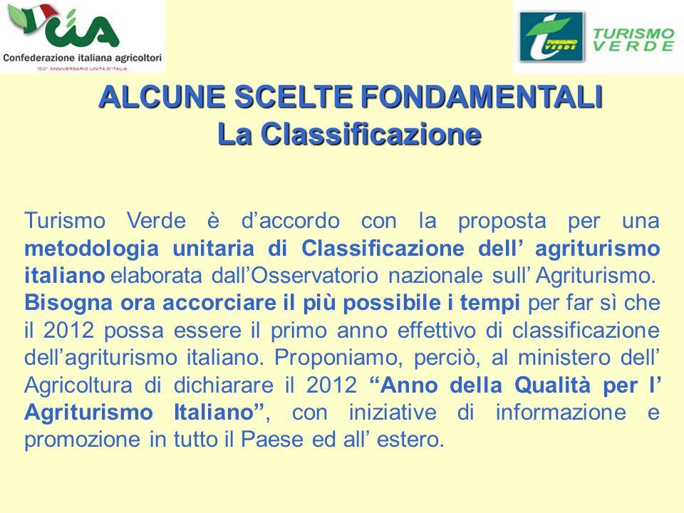 Turismo Verde è daccordo con la proposta per una metodologia unitaria di Classificazione dell agriturismo italiano elaborata dallOsservatorio nazionale sull Agriturismo.