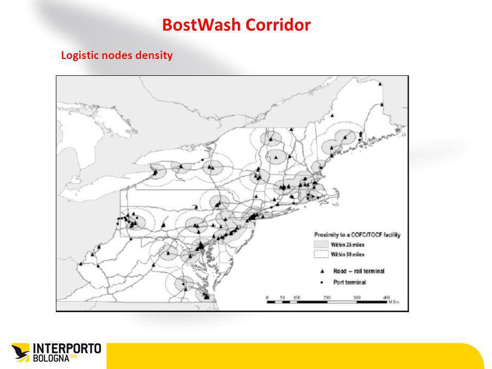 BostWash Corridor Logistic nodes density