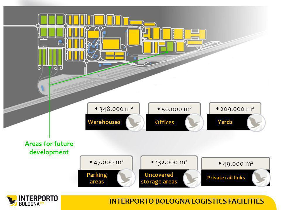 INTERPORTO BOLOGNA LOGISTICS FACILITIES 348.000 m 2 Warehouses 50.000 m 2 Offices 209.000 m 2 Yards 47.000 m 2 Parking areas 132.000 m 2 Uncovered sto