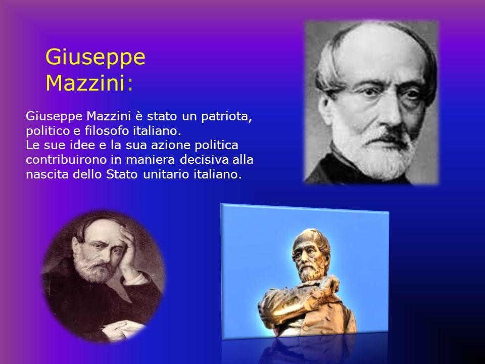 Giuseppe Mazzini: Giuseppe Mazzini è stato un patriota, politico e filosofo italiano. Le sue idee e la sua azione politica contribuirono in maniera de