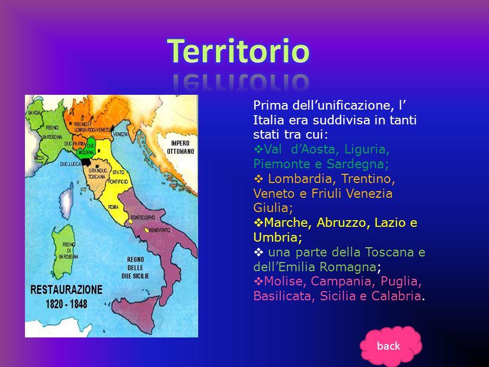 Prima dellunificazione, l Italia era suddivisa in tanti stati tra cui: Val dAosta, Liguria, Piemonte e Sardegna; Lombardia, Trentino, Veneto e Friuli