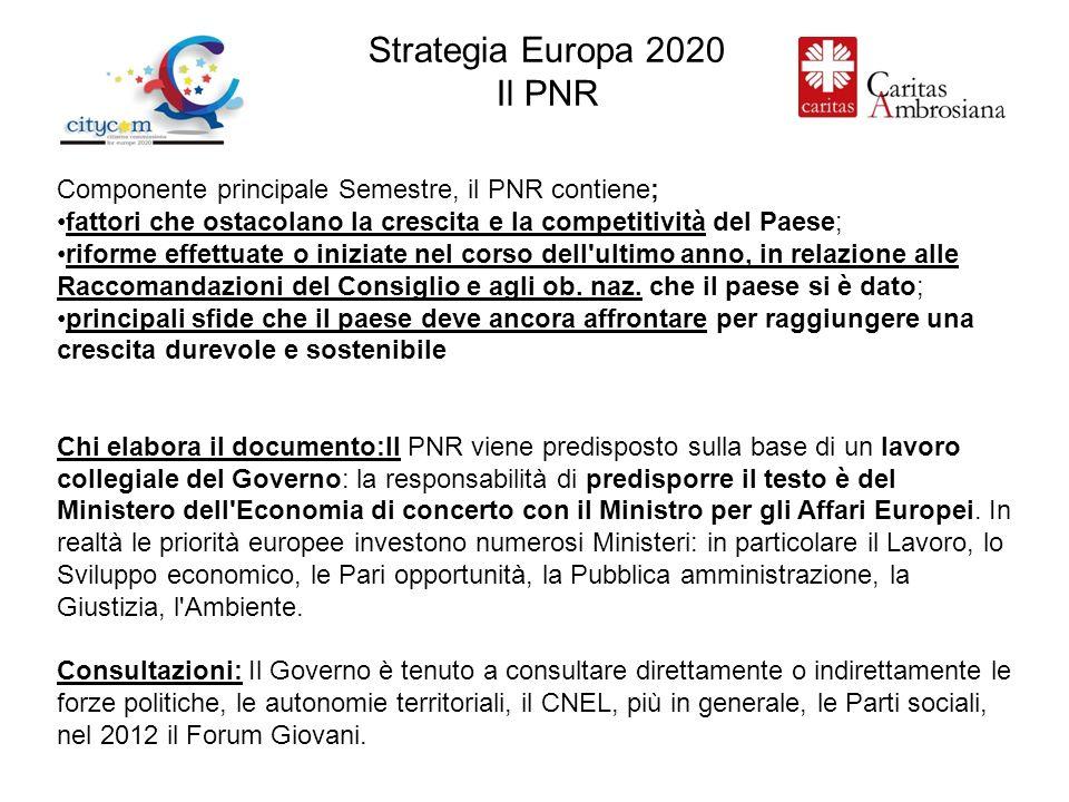 Strategia Europa 2020 Il PNR Componente principale Semestre, il PNR contiene; fattori che ostacolano la crescita e la competitività del Paese; riforme effettuate o iniziate nel corso dell ultimo anno, in relazione alle Raccomandazioni del Consiglio e agli ob.