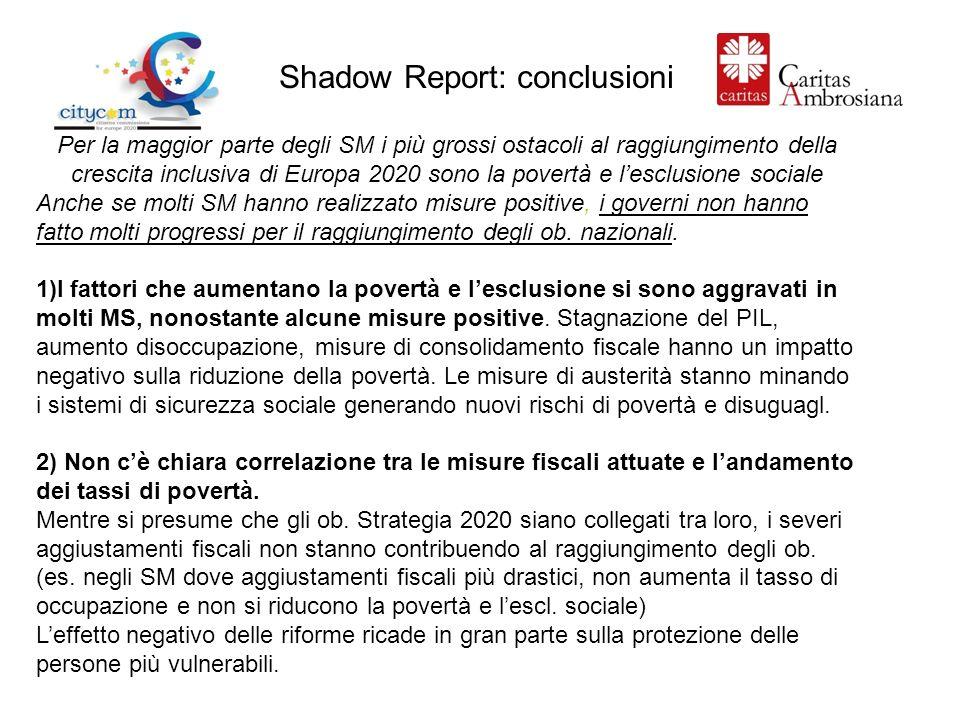 Shadow Report: conclusioni Per la maggior parte degli SM i più grossi ostacoli al raggiungimento della crescita inclusiva di Europa 2020 sono la povertà e lesclusione sociale Anche se molti SM hanno realizzato misure positive, i governi non hanno fatto molti progressi per il raggiungimento degli ob.