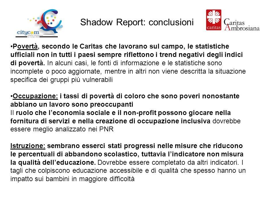 Shadow Report: conclusioni Povertà, secondo le Caritas che lavorano sul campo, le statistiche ufficiali non in tutti i paesi sempre riflettono i trend negativi degli indici di povertà.