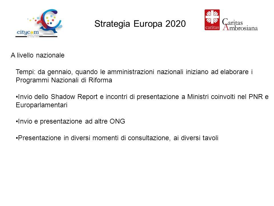 Strategia Europa 2020 A livello nazionale Tempi: da gennaio, quando le amministrazioni nazionali iniziano ad elaborare i Programmi Nazionali di Riforma Invio dello Shadow Report e incontri di presentazione a Ministri coinvolti nel PNR e Europarlamentari Invio e presentazione ad altre ONG Presentazione in diversi momenti di consultazione, ai diversi tavoli