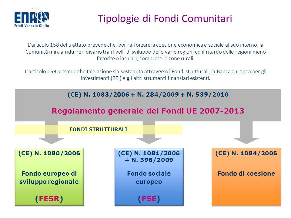 Tipologie di Fondi Comunitari L'articolo 158 del trattato prevede che, per rafforzare la coesione economica e sociale al suo interno, la Comunità mira