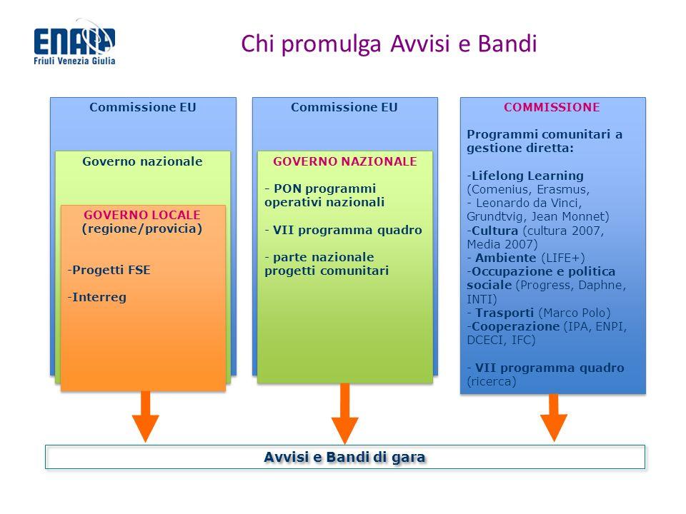 Chi promulga Avvisi e Bandi Commissione EU COMMISSIONE Programmi comunitari a gestione diretta: -Lifelong Learning (Comenius, Erasmus, - Leonardo da V