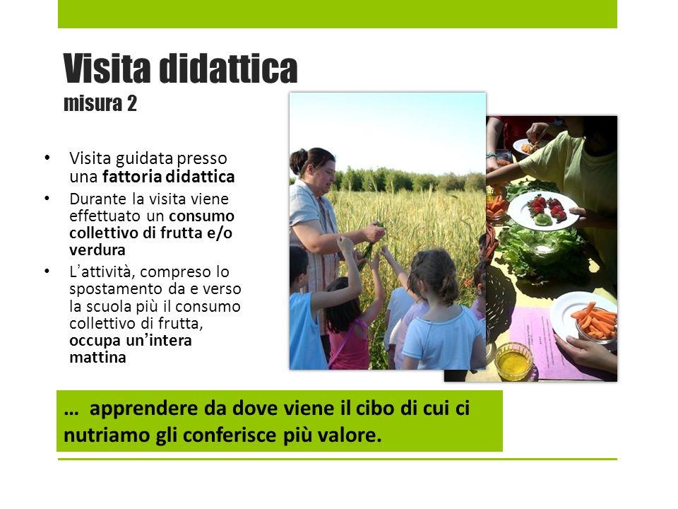 Visita didattica misura 2 Visita guidata presso una fattoria didattica Durante la visita viene effettuato un consumo collettivo di frutta e/o verdura