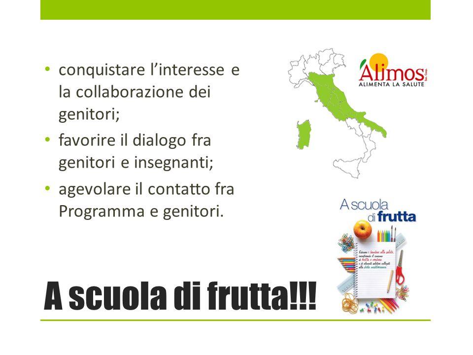 A scuola di frutta!!! conquistare linteresse e la collaborazione dei genitori; favorire il dialogo fra genitori e insegnanti; agevolare il contatto fr