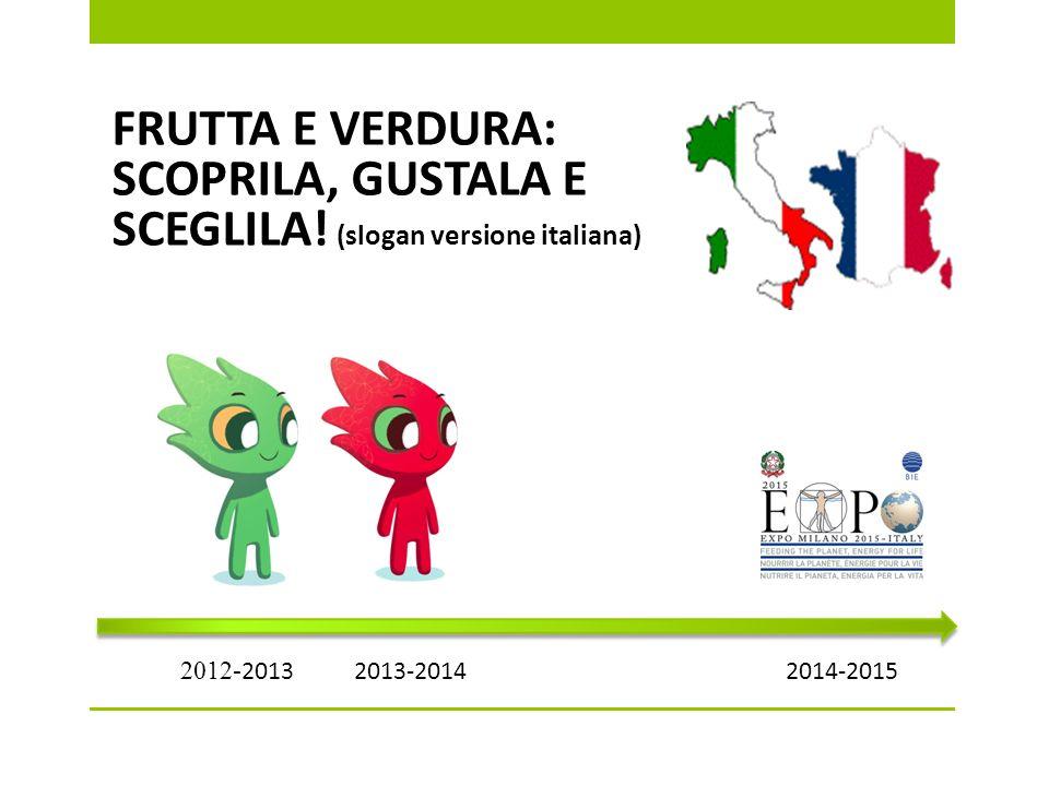 FRUTTA E VERDURA: SCOPRILA, GUSTALA E SCEGLILA! (slogan versione italiana) 2012- 2013 2013-20142014-2015