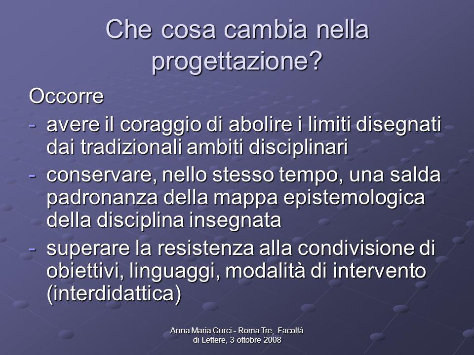 Anna Maria Curci - Roma Tre, Facoltà di Lettere, 3 ottobre 2008 Che cosa cambia nella progettazione.
