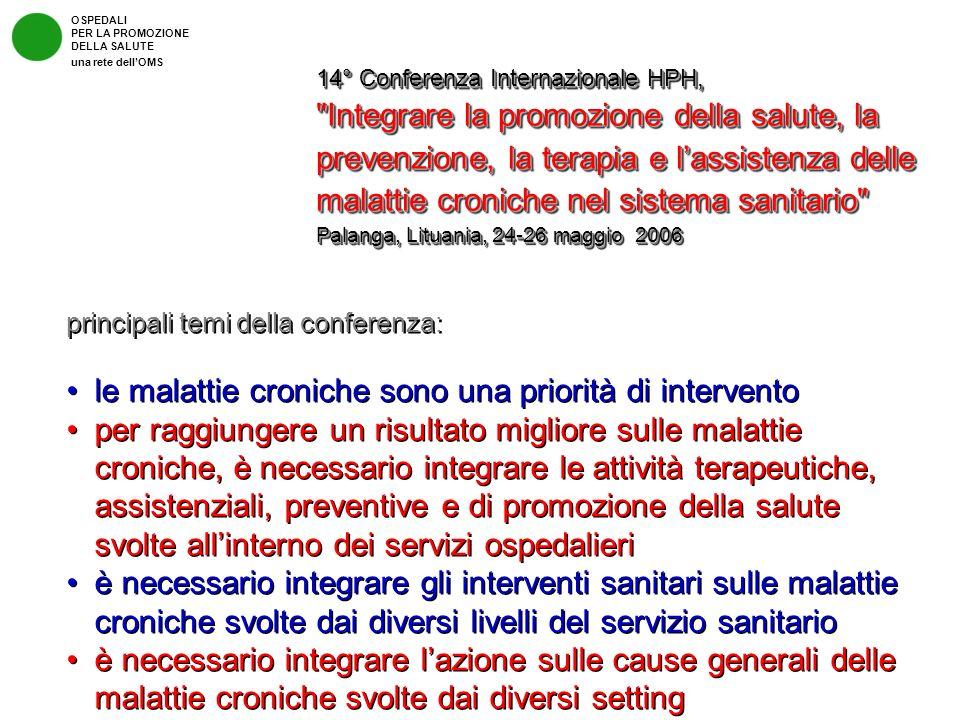 OSPEDALI PER LA PROMOZIONE DELLA SALUTE una rete dellOMS 14° Conferenza Internazionale HPH,
