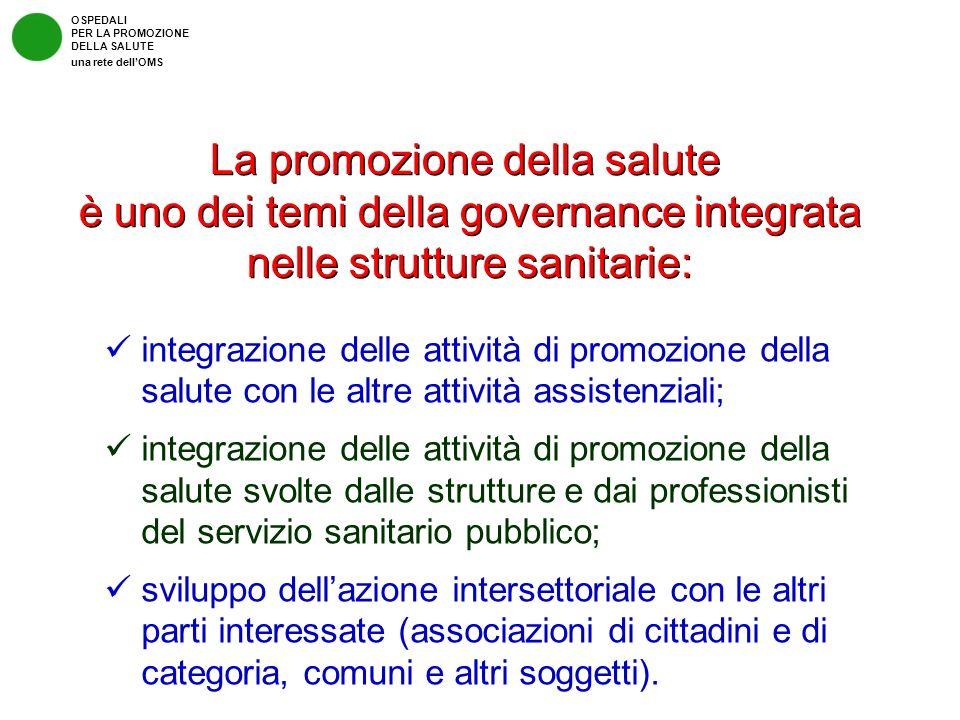 integrazione delle attività di promozione della salute con le altre attività assistenziali; integrazione delle attività di promozione della salute svo