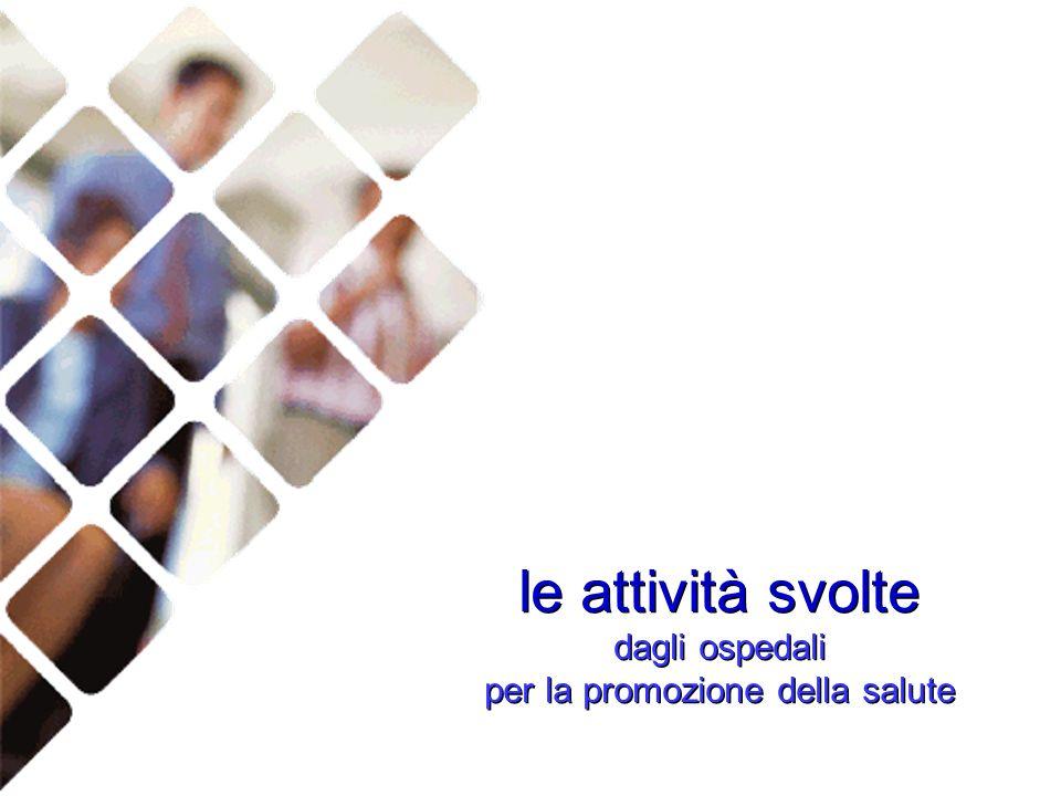 le attività svolte dagli ospedali per la promozione della salute le attività svolte dagli ospedali per la promozione della salute
