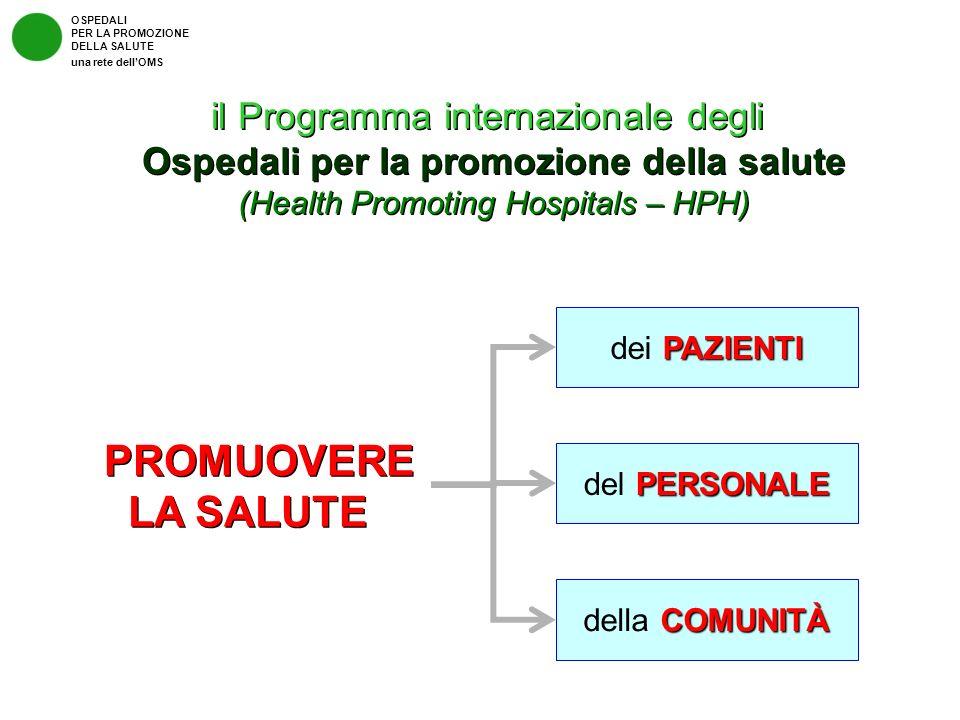 OSPEDALI PER LA PROMOZIONE DELLA SALUTE una rete dellOMS il Programma internazionale degli Ospedali per la promozione della salute (Health Promoting H