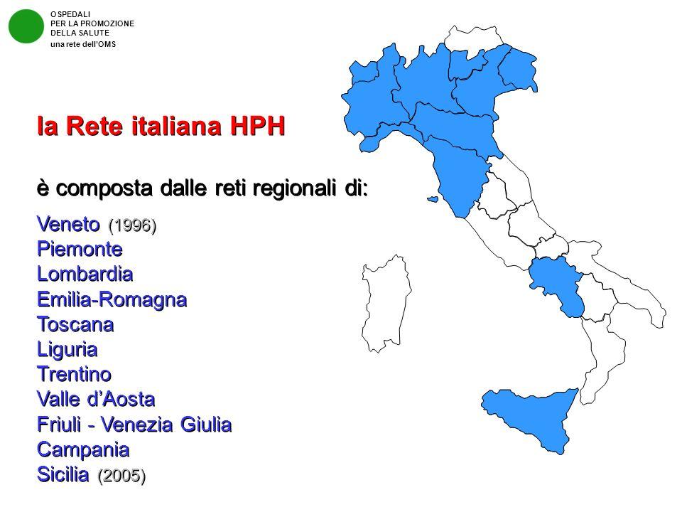 la Rete italiana HPH è composta dalle reti regionali di: Veneto (1996) Piemonte Lombardia Emilia-Romagna Toscana Liguria Trentino Valle dAosta Friuli
