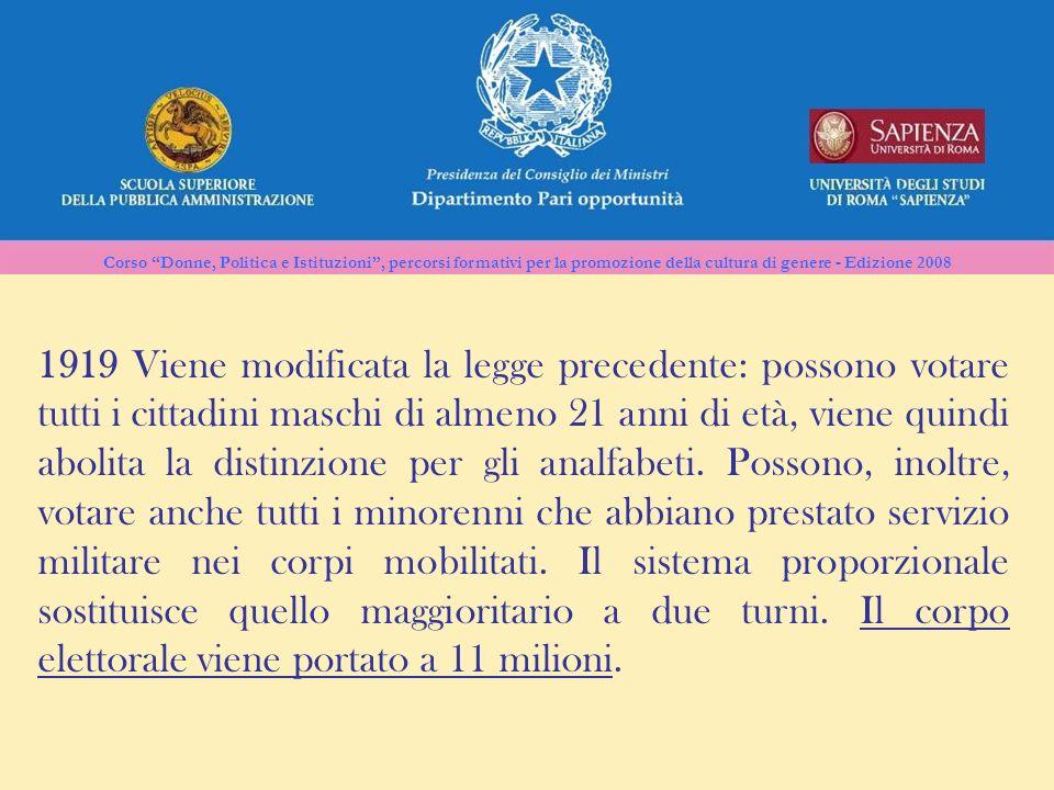 Corso Donne, Politica e Istituzioni, percorsi formativi per la promozione della cultura di genere - Edizione 2008 1919 Viene modificata la legge prece