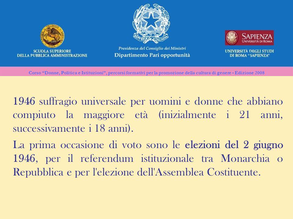 Corso Donne, Politica e Istituzioni, percorsi formativi per la promozione della cultura di genere - Edizione 2008 1946 suffragio universale per uomini